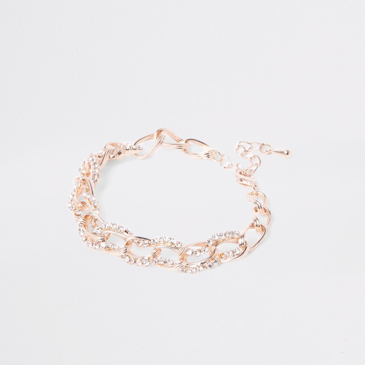 Rose gold rhinestone chain link bracelet