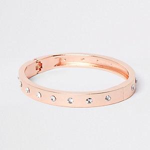 Roségoudkleurige brede armband met stras