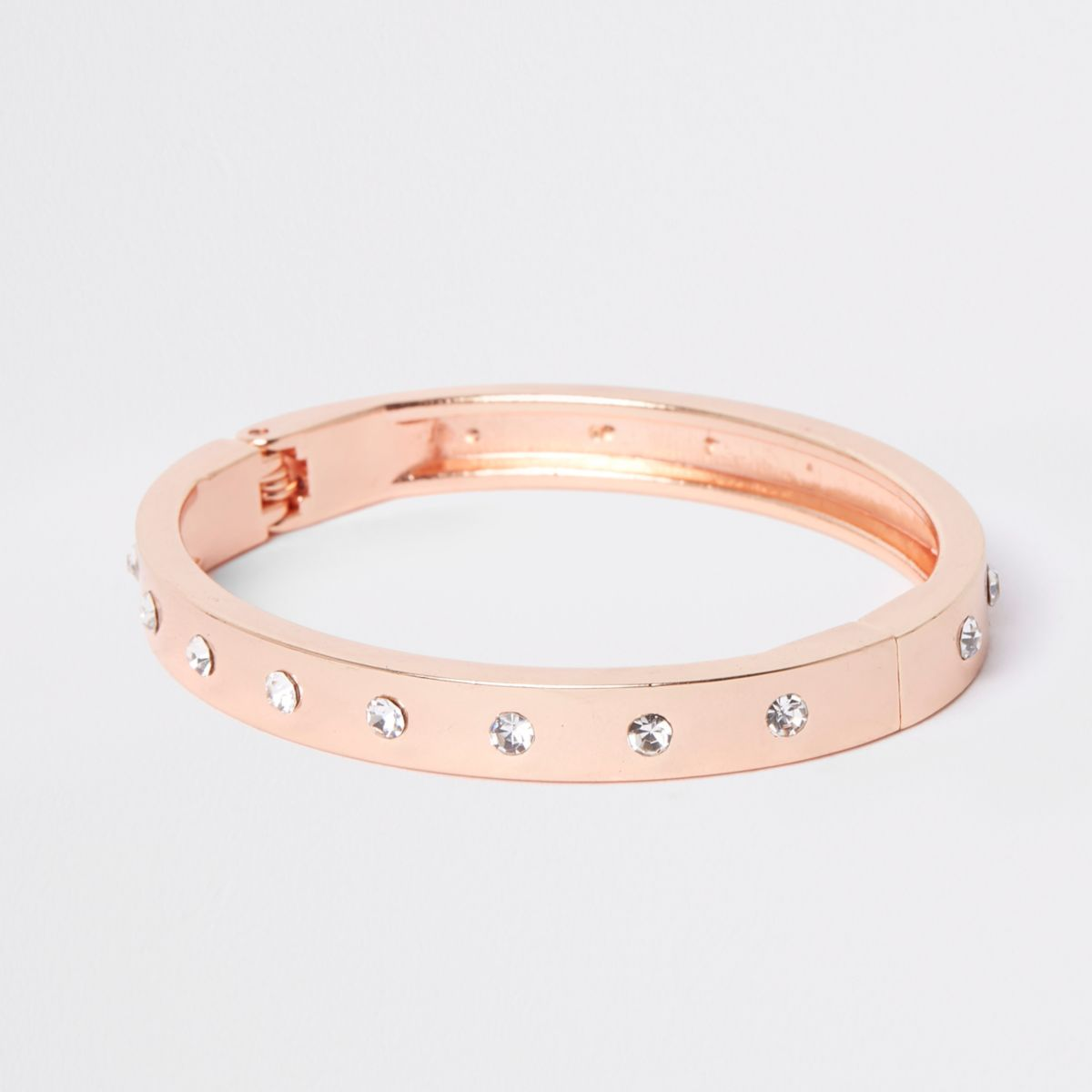 Rose gold tone diamante cuff bracelet