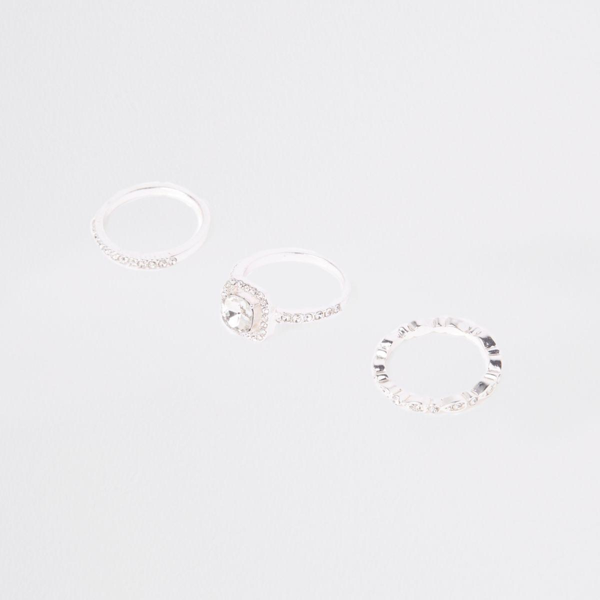 Silver tone rhinestone ring multipack
