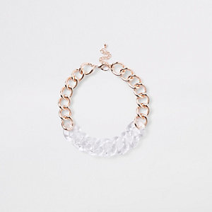 Rose gold tone and clear multilink necklace