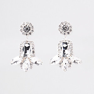 Silver tone jewel rhinestone drop stud earrings