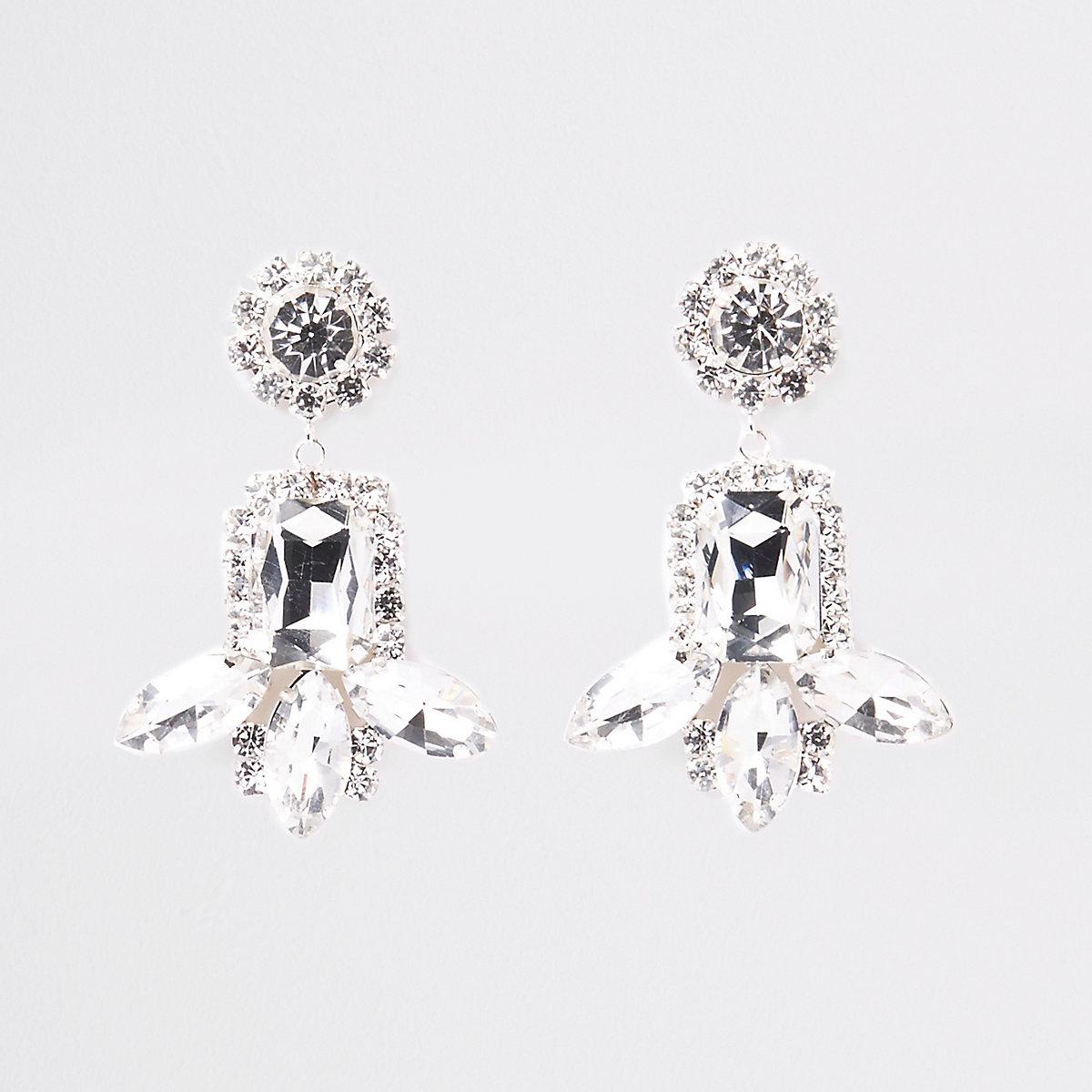 Silver tone jewel diamante drop stud earrings