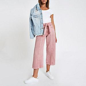 Jupe-culotte en denim rose à ceinture