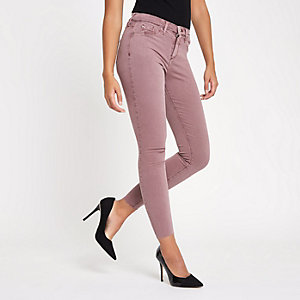 Dark pink Molly mid rise jeggings