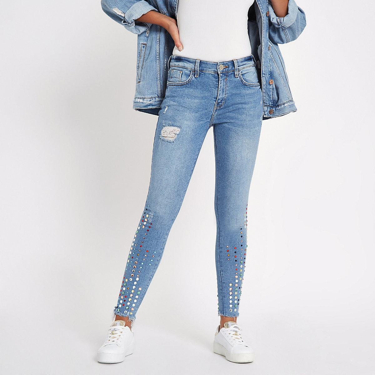 Amelie - Blauwe skinny jeans met halfhoge taille en siersteentjes
