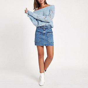 Mini-jupe à ceinture en denim bleu moyen