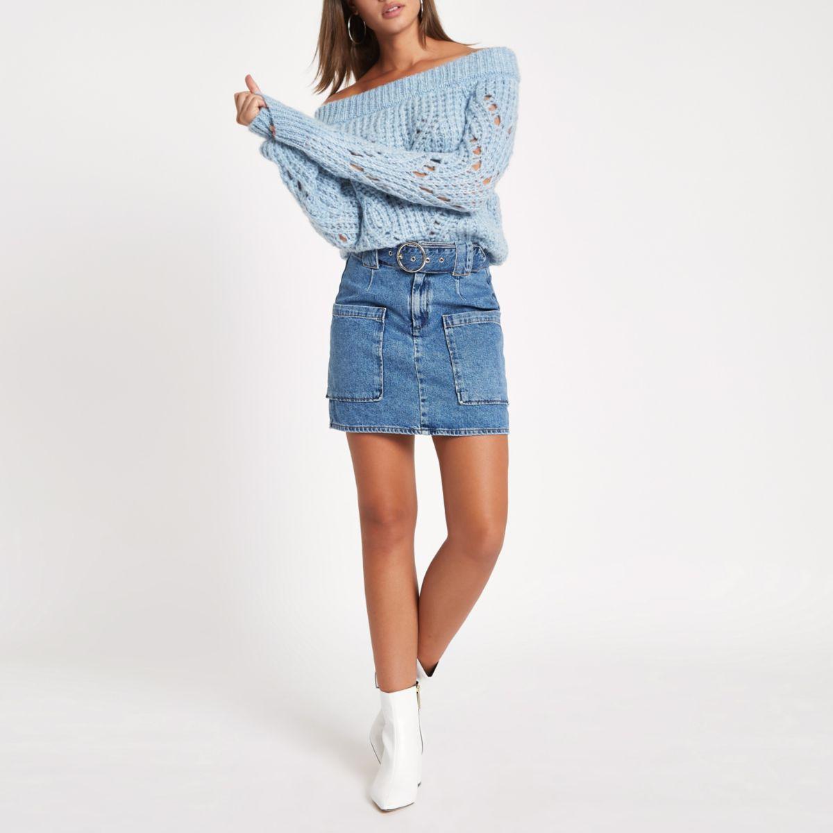 Mid blue belted denim mini skirt