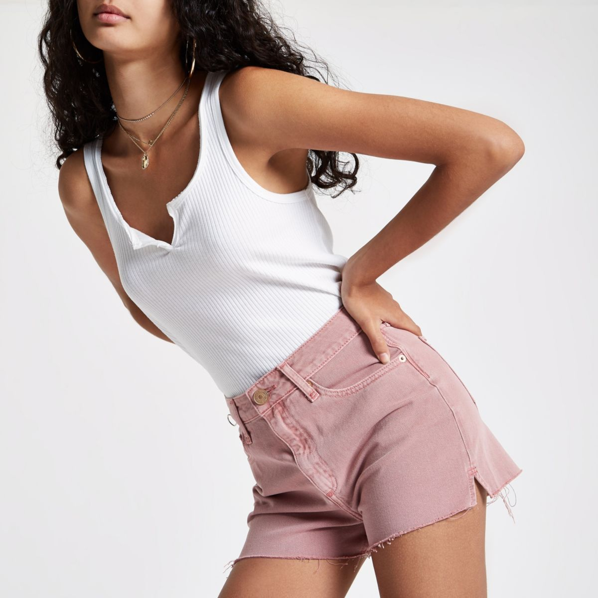 Pink Annie high rise denim hot pants