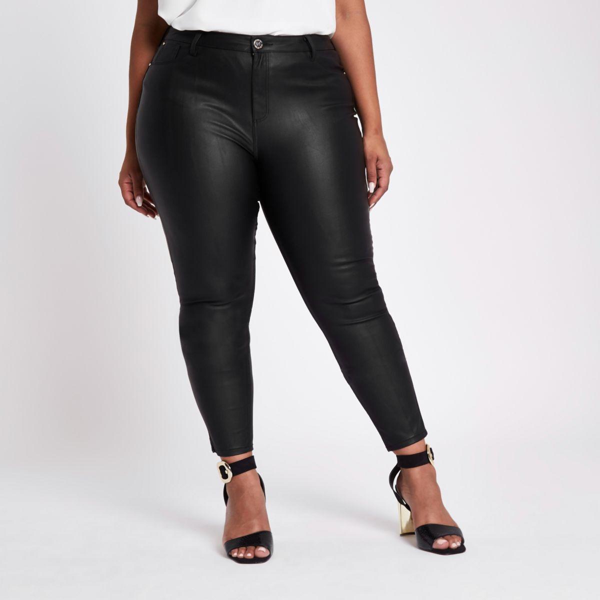 Plus black coated skinny jeans