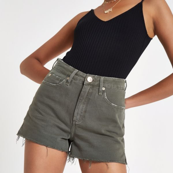 Outlet Best Place Super Womens Pink Annie high rise denim hot pants River Island 7Mj3YlTB5e