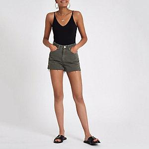 Annie – Khaki Jeans-Hotpants mit hohem Bund