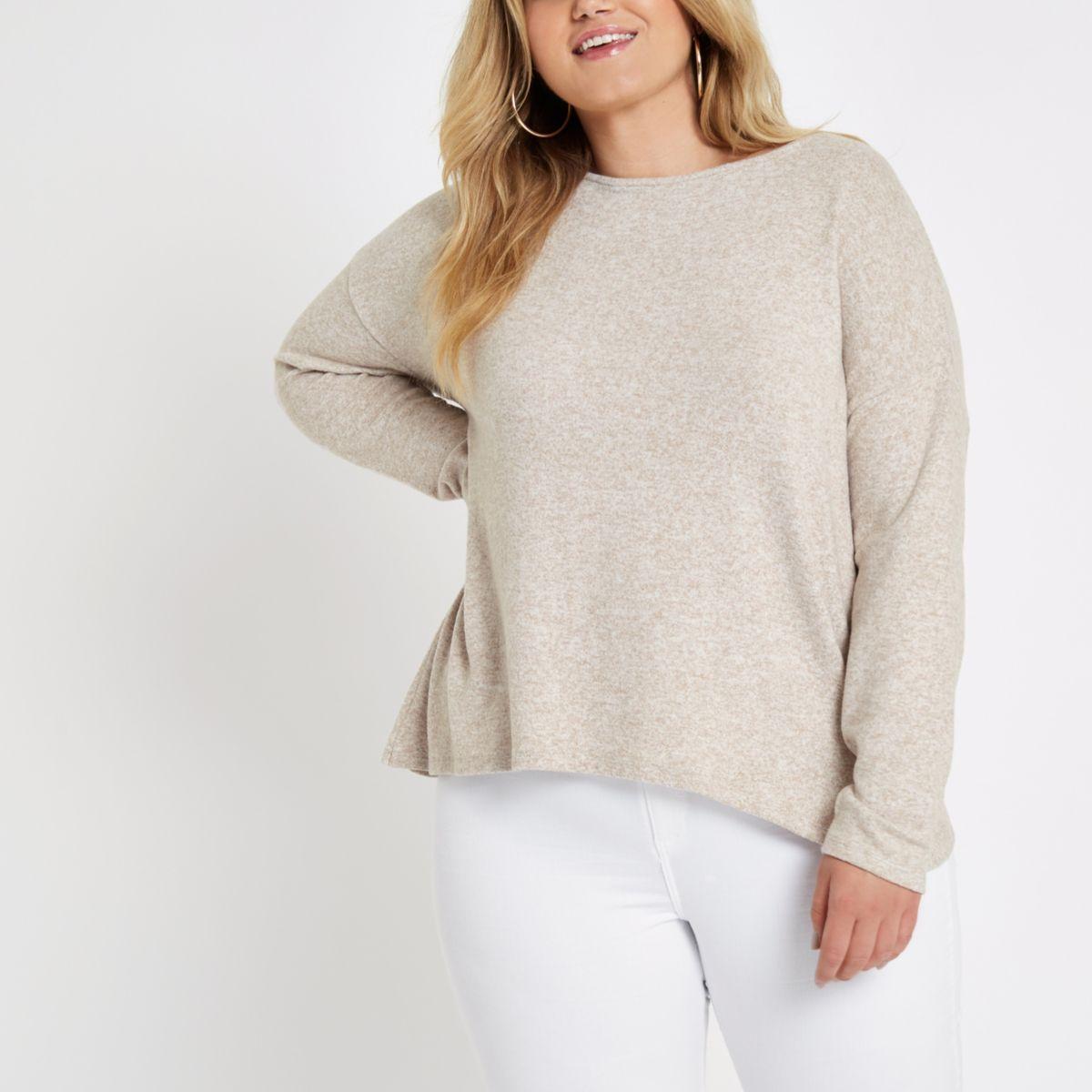 Plus beige twist back sweater