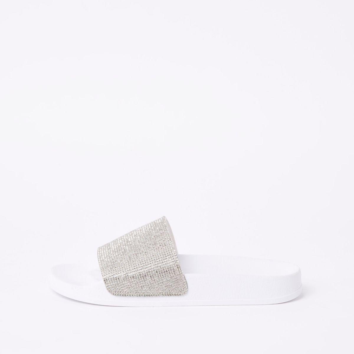 White rhinestone embellished sliders