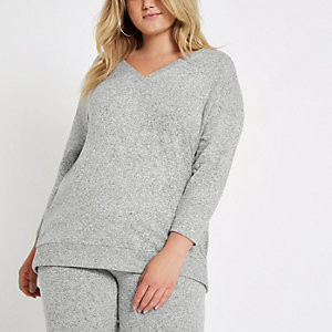 Plus grey jersey V neck jumper