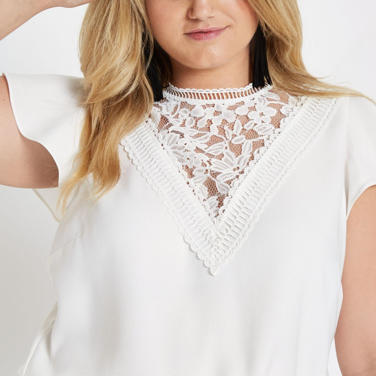 Plus white lace front frill sleeve top