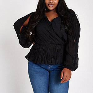 ​Plus black pleated wrap top