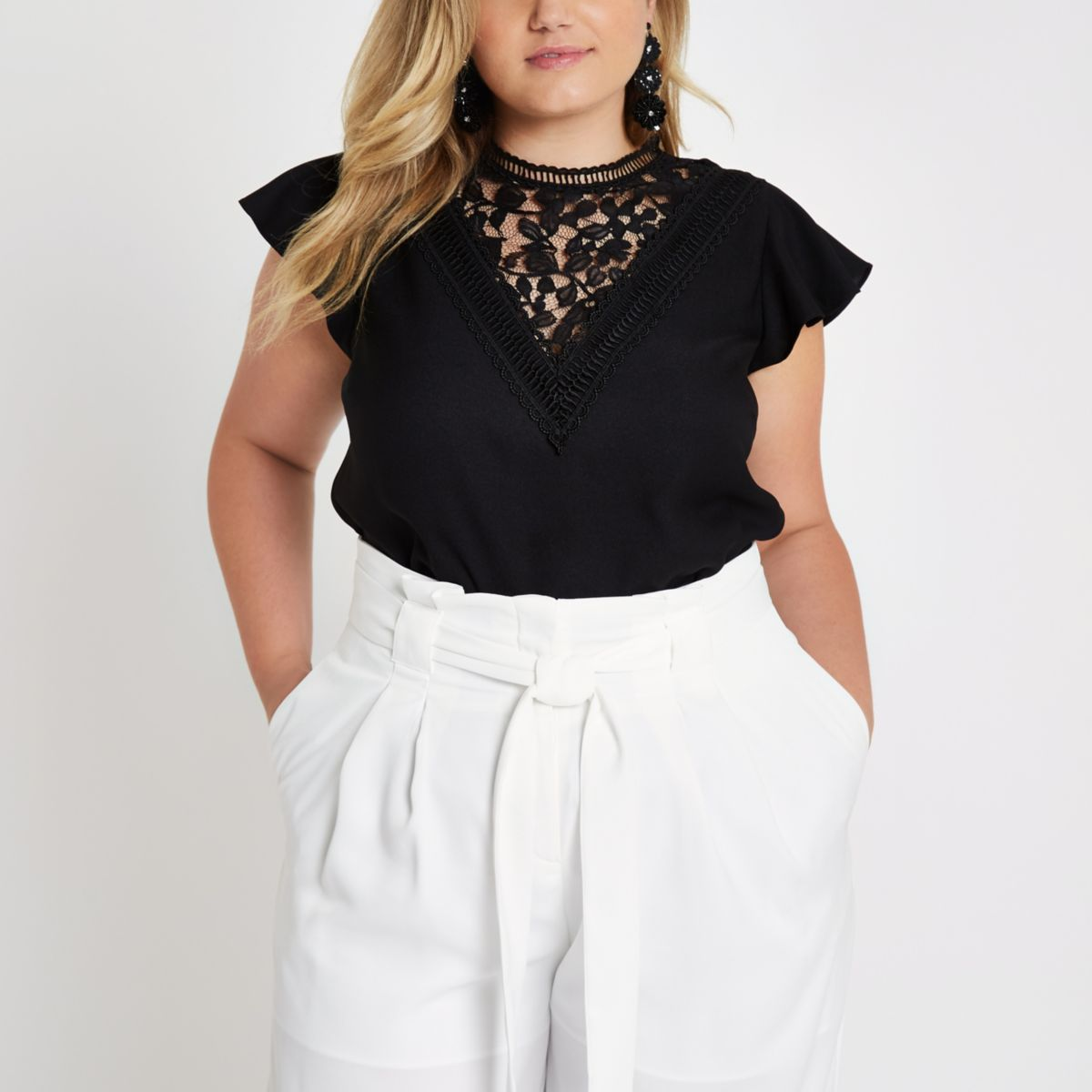 Plus black lace front frill sleeve top