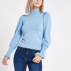Petite blue knit frill trim sweater