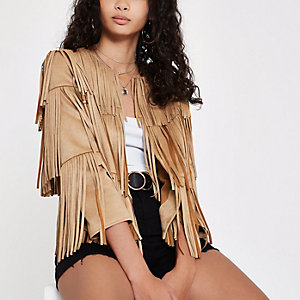 Beige faux suede fringe jacket