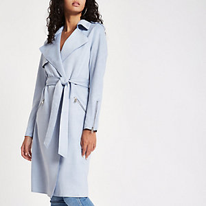 Light blue faux suedette longline trench coat