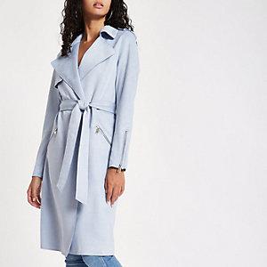 Light blue faux suedette longline trench coat