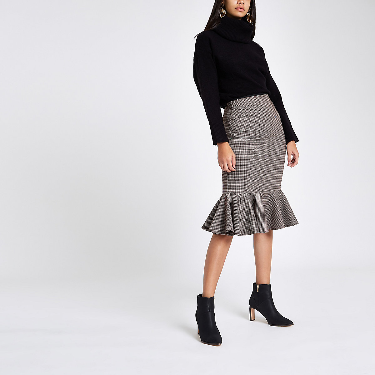 Brown ponte check frill hem pencil skirt