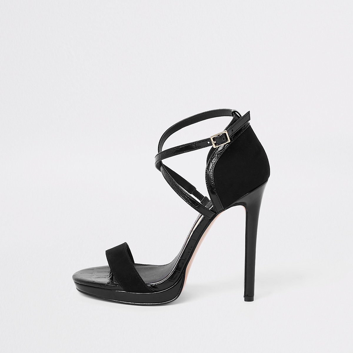 Black barely there platform sandals