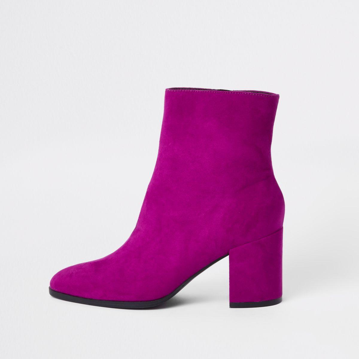 Pink block heel suede boots