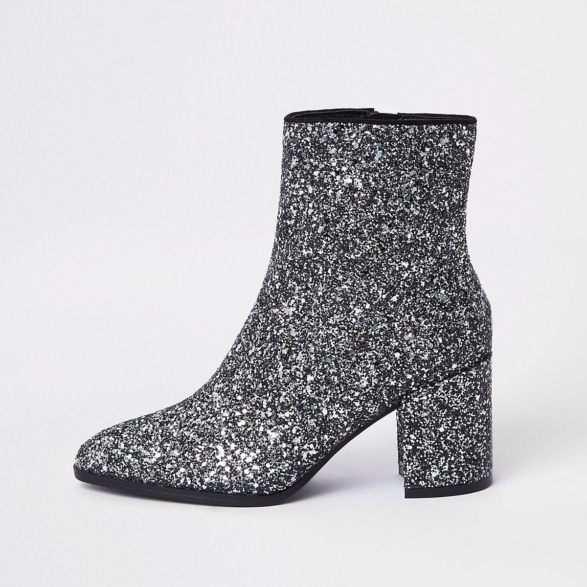 Silver glitter block heel ankle boots