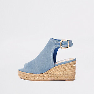 Blue denim espadrille wedge shoe boots
