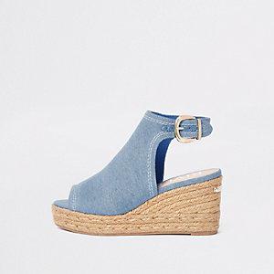 Blauwe denim espadrille-schoenlaarsjes met sleehak