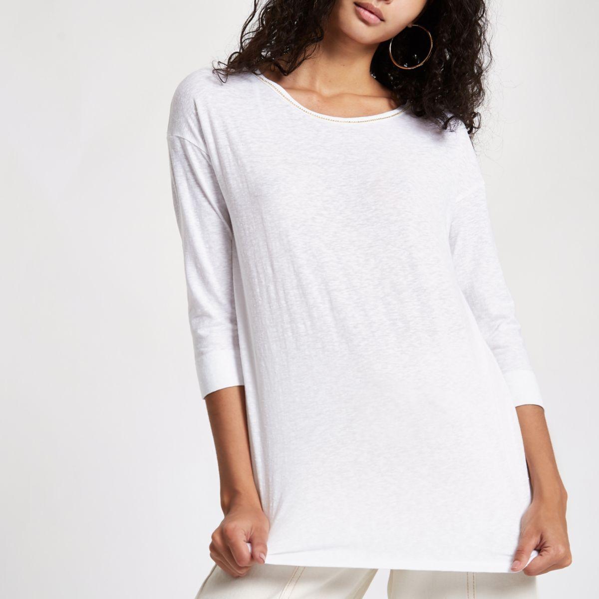 White rhinestone embellished T-shirt
