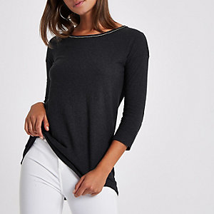 Grey rhinestone trim embellished T-shirt