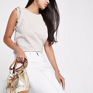 Beige tassel trim tank top