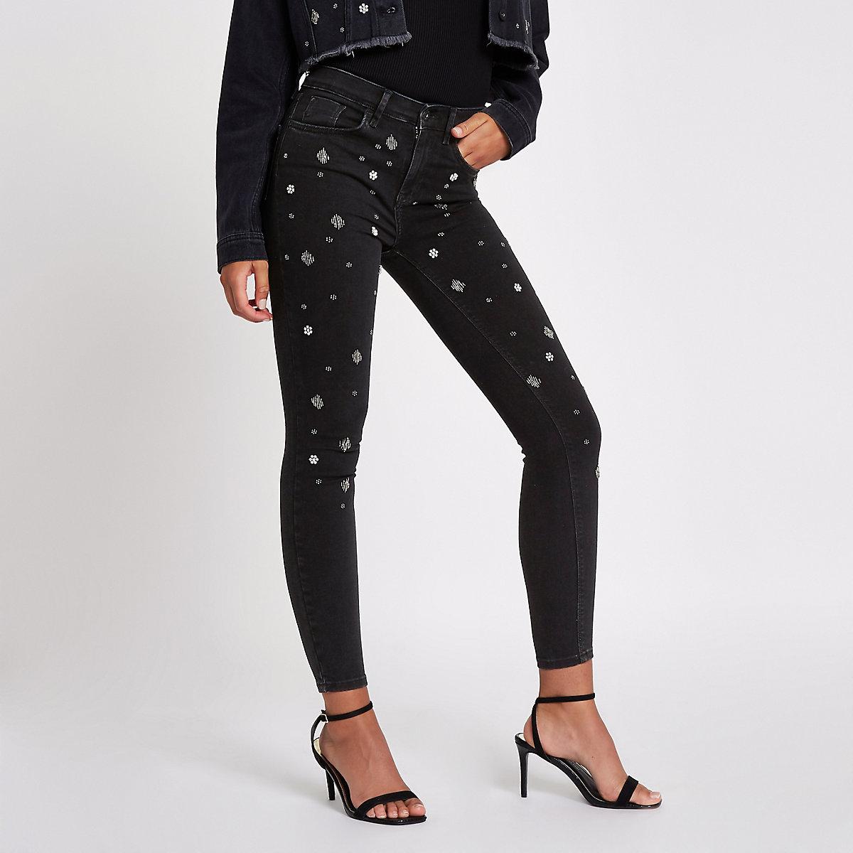 Black embellished Amelie slim fit jeans