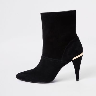 Black Suede Slouch Cone Heel Boots by River Island