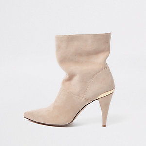 Cream suede slouch cone heel boots