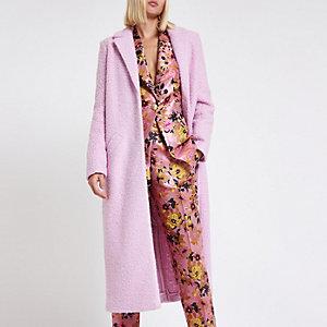 Pink textured longline coat