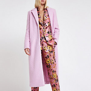 Rosa, langer Mantel mit Struktur