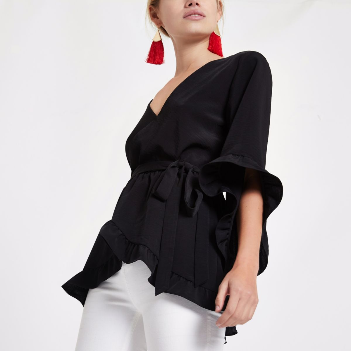Black tie waist frill wrap top