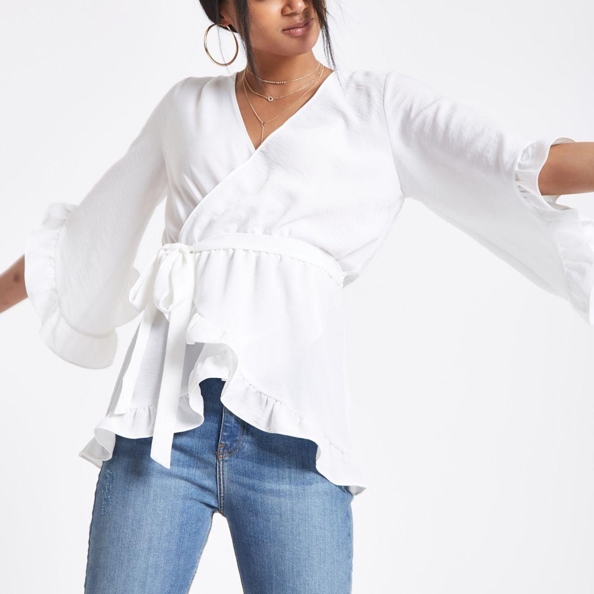 Cream wrap tie waist frill blouse
