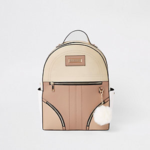 Beige zip front back pack