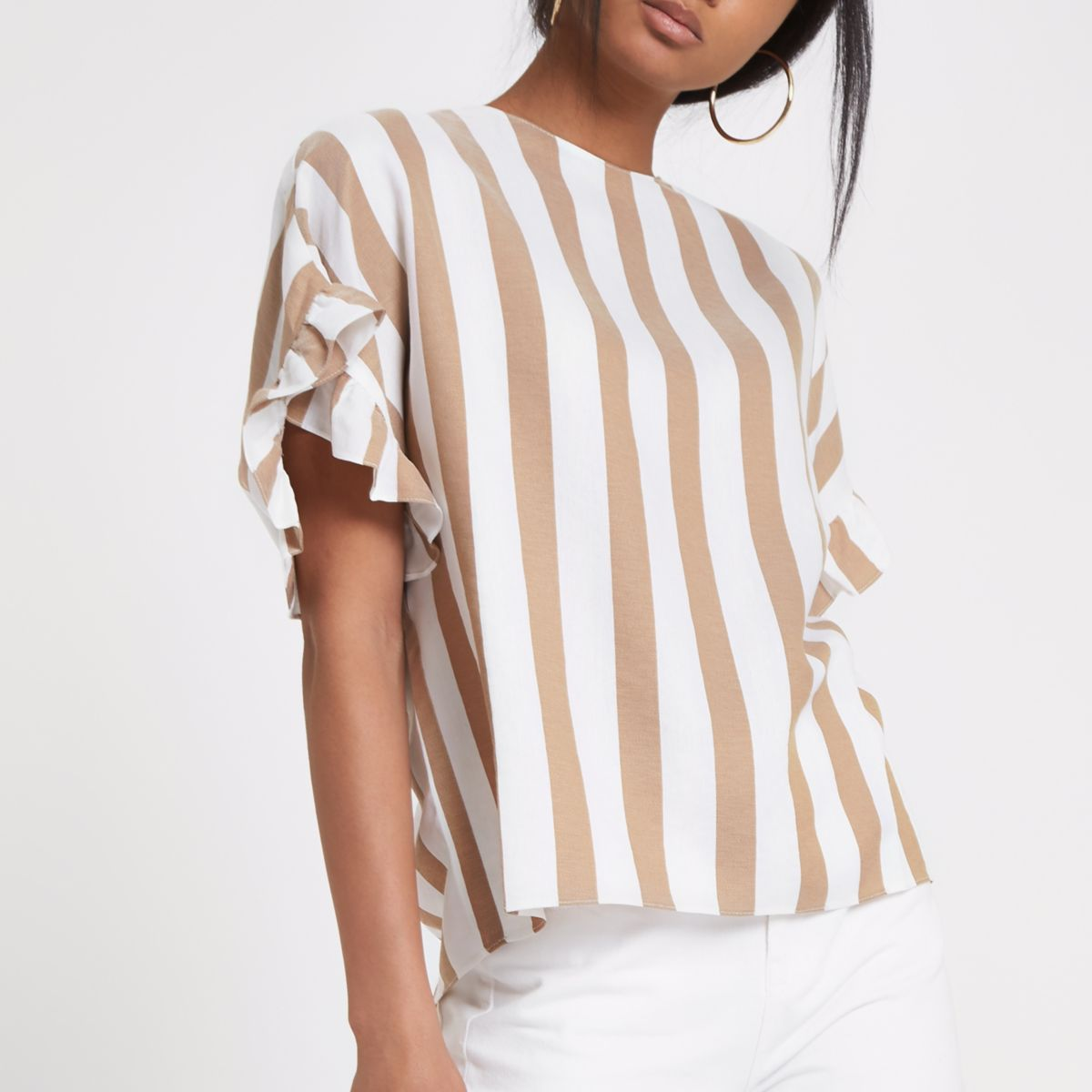 Brown stripe frill sleeve top