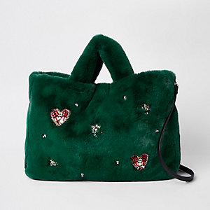 Green faux fur jewel embellished shopper bag