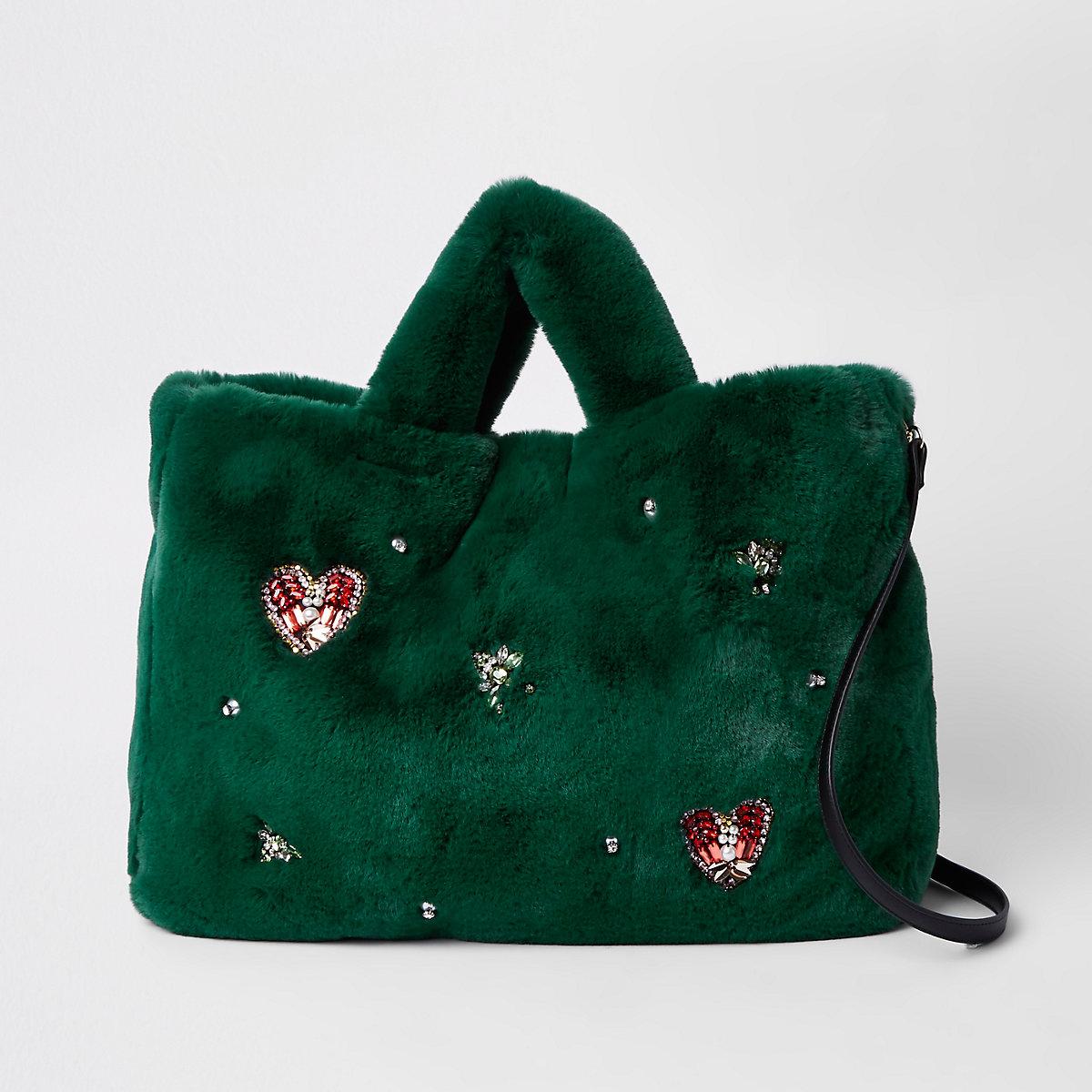 Green faux fur jewel embellished shopper bag