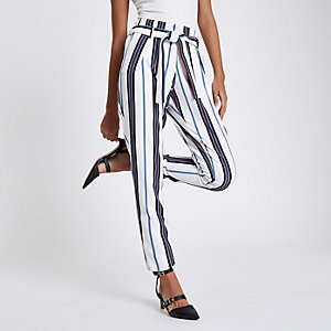 White stripe tie waist tapered trousers