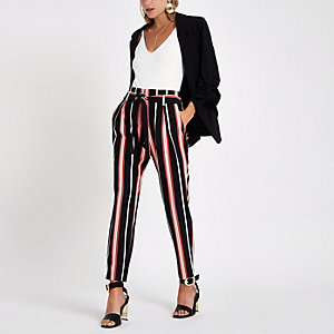 Black stripe tie waist tapered pants