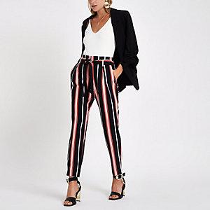 Black stripe tie waist tapered pants