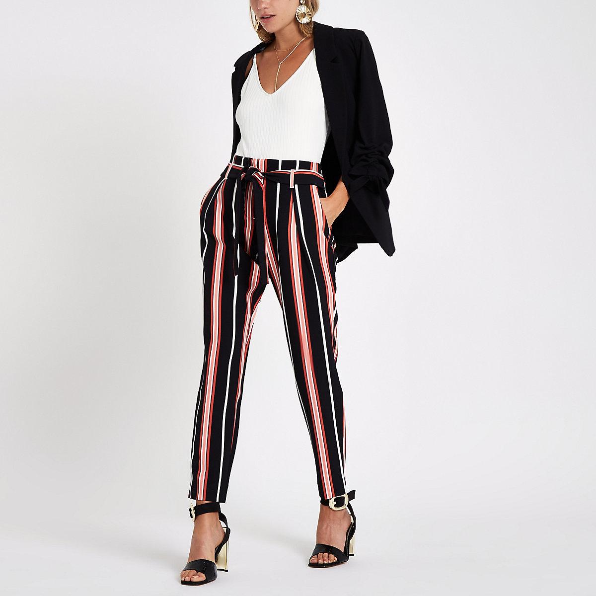 Black stripe tie waist tapered trousers